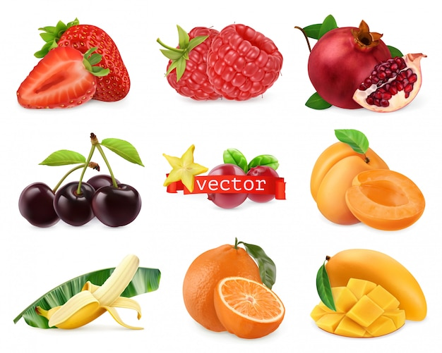 Fresh fruits and berries. strawberry, raspberry, pomegranate, cherry, apricot, banana, orange, mango. 3d realistic set