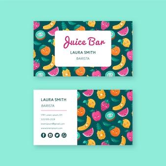 Шаблон визитной карточки свежие фрукты