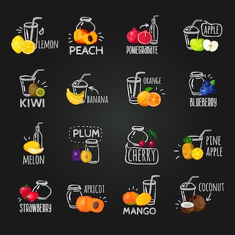 Fresh fruits colorful chalkboard icons set