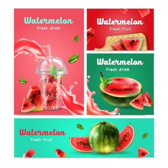 Fresh fruits and drinks from watermelon realistic banners set