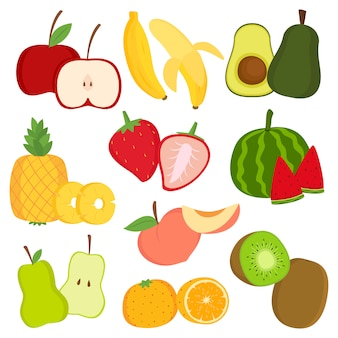 Fresh fruits and fruit slices cartoon vector set