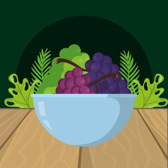 Fresh fruits grapes cartoon