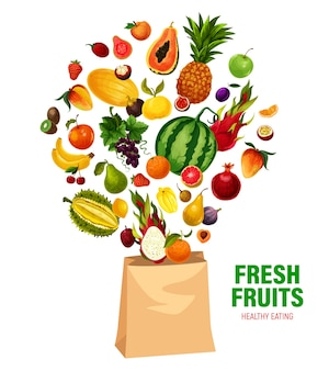 Fresh fruits  healthy eating in shopping bag.