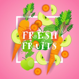 Fresh fruits illustration organic healthy food concept