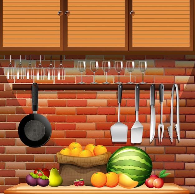 Свежие фрукты на кухне