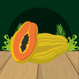 Fresh fruits papaya cartoon