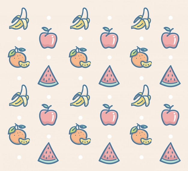 Fresh fruits pattern vector design with banana apple orange and watermelon