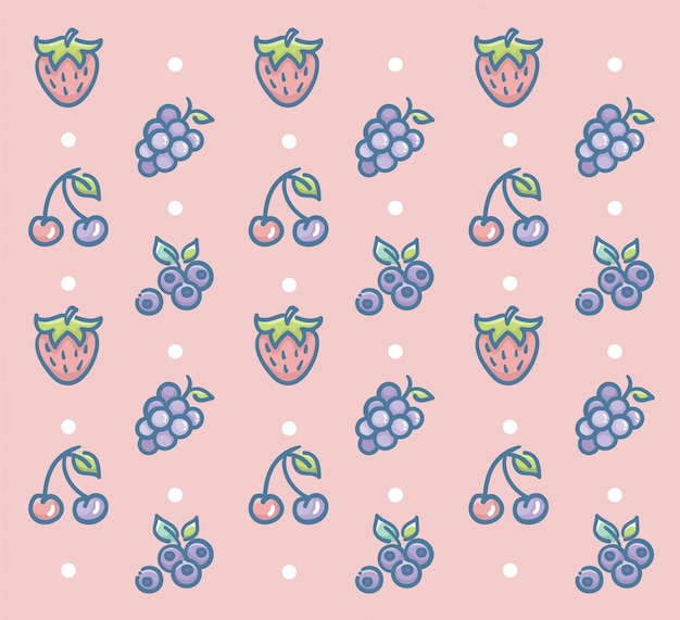 Fresh fruits pattern vector design with strawberry grape cherry and blueberry