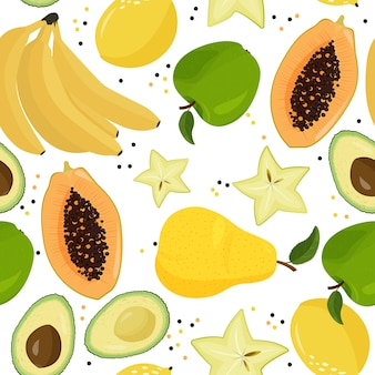 Fresh fruits seamless pattern. bananas, green apples, carambola, avocado, lemon, pear and papaya background.