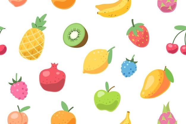 Бесшовный узор из свежих фруктов. летние тропические фрукты.