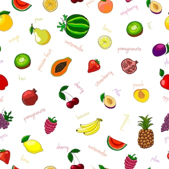 Fresh fruits seamless pattern with pear watermelon kiwi and garnet vector illustration