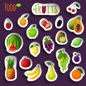 Fresh fruits stickers illustration