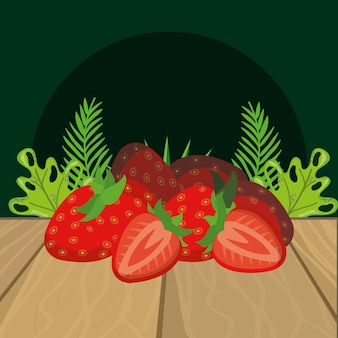 Fresh fruits strawberry cartoon