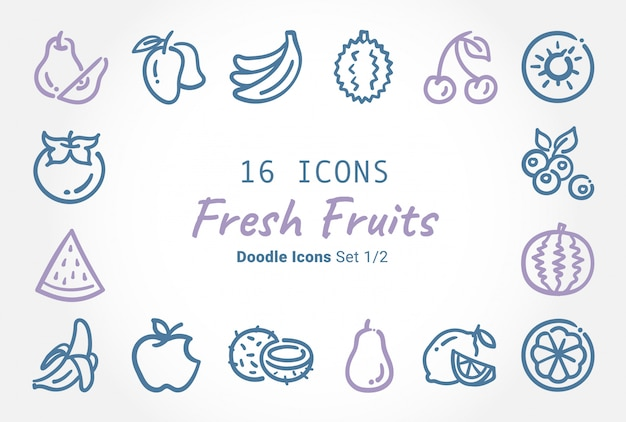 Fresh fruits vector doodle icon collection