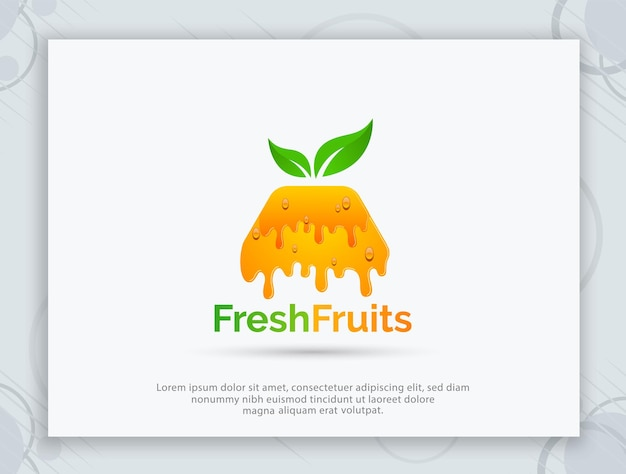 Свежие фрукты векторный дизайн логотипа
