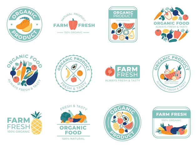 Fresh fruits and vegetables badges. organic food, natural products and summer fruit. vegetable badge  illustration set