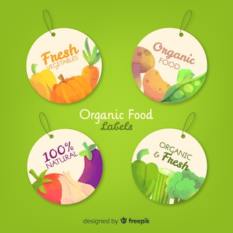 Fresh fruits and vegetables circled label pack