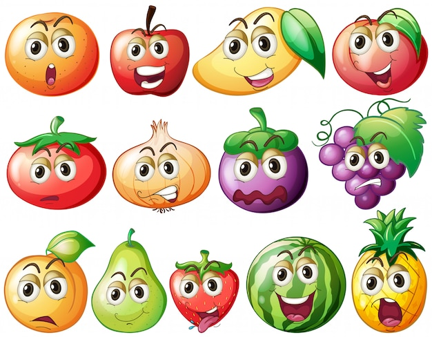 Fresh fruits and vegetables with face
