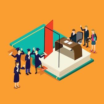 Fresh graduation student find a new job isometric