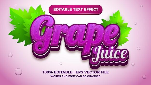Редактируемый текстовый эффект свежего виноградного сока