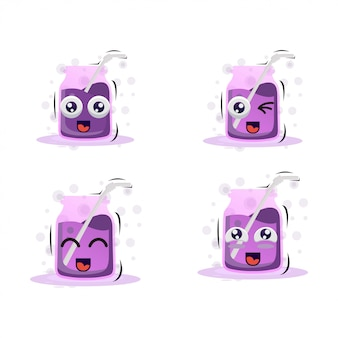 Fresh grape juice mascot with expressions