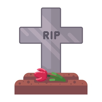 Fresh grave with a stone cross. flat vector illustration.