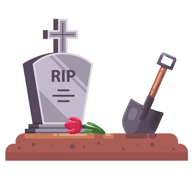 Fresh grave with stove and christian cross. dig a shovel. flat illustration.