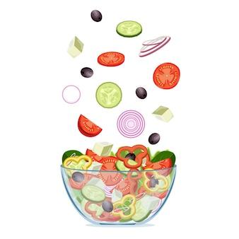Fresh greek salad with greek olives, cucumbers, tomatoes, onion, feta cheese.