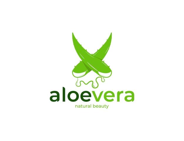 신선한 녹색 알로에 베라 로고 디자인