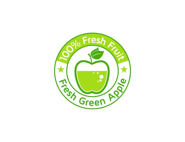 음료 또는 브랜드 제품에 대한 신선한 녹색 사과 과일 엠블럼 또는 스탬프