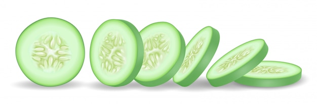 Fresh green cucumber slice