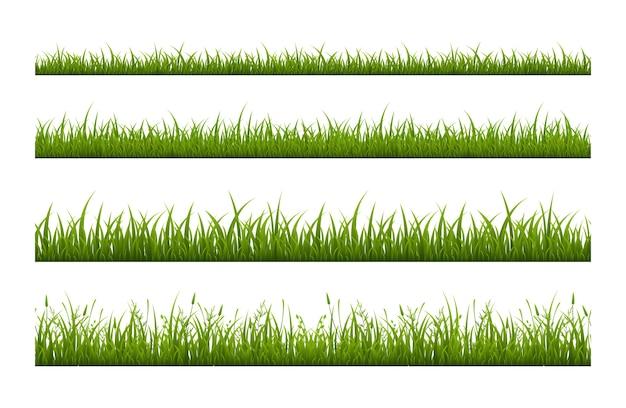 新鮮な緑の草のラインフラットシームレスパターン。白い背景に設定されているハーブの成長のイラスト。スポーツフィールドコーティング。夏の牧草地、芝生。装飾的な植物の孤立したストライプ
