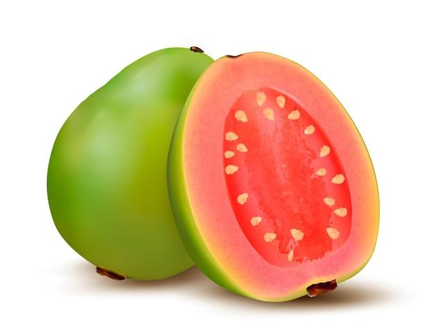 新鮮な緑のグアバの果実。