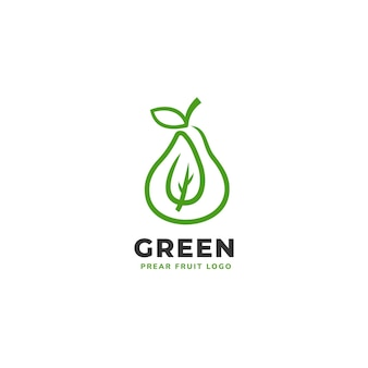 新鮮な緑の梨の果実のロゴ