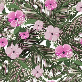 Fresh green tropical leaves, with flower background. floral seamless pattern in vector. greenery tropical illustration. paradise nature design