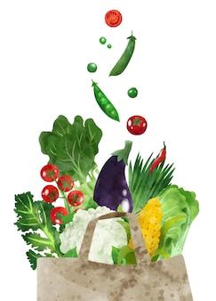 Свежие зеленые овощи падают в бумажный пакет