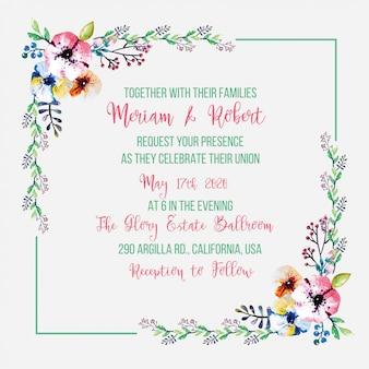 新鮮な緑の水彩画の結婚式の招待状