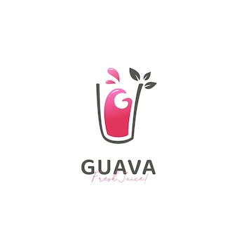 Fresh guava fruit juice drink logo icon template