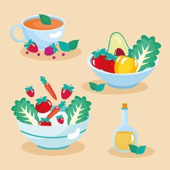 Fresh healthy bowls set icons