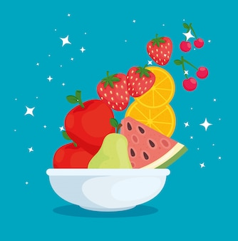 Fresh and healthy food, bowl with fruits