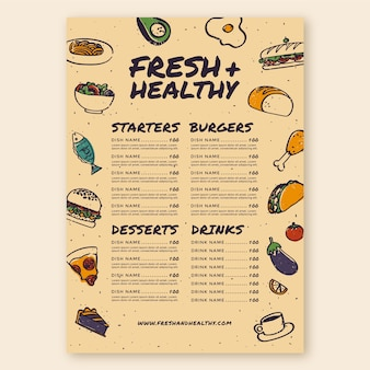Modello di menu di cibo fresco e sano