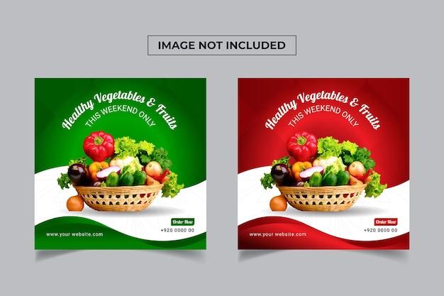 Fresh healthy food social media banner template