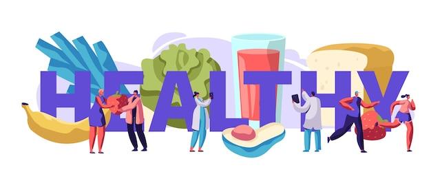 신선한 건강 식품 타이포그래피 배너 디자인. 다이어트 당뇨병 건강 개념에 대한 유기농 식사. 채식 라이프 스타일 광고 포스터 플랫 만화 벡터 일러스트 레이션을위한 샐러드와 과일 메뉴