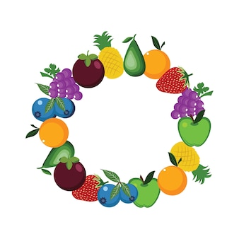 Fresh healthy fruit round circle frame illustration