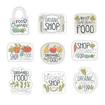 Fresh healthy organic vegan food logo labels set