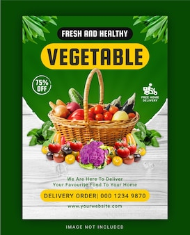 Fresh and healthy vegetable flyer template