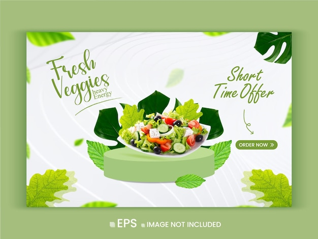 Fresh and healthy vegetable promotion offer web  banner template premium vector
