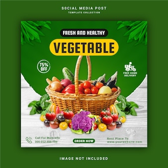 Fresh and healthy vegetable social media post template