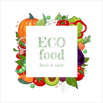 Квадратная рамка из свежих здоровых овощей для рекламного баннера на рынке фермерского магазина.