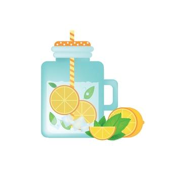 オレンジ、氷、ミント、オレンジスライスとヴィンテージメーソンの瓶の新鮮な自家製レモネード。